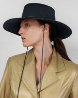 Gaucho Hat in Black Sueded Angora - CLYDE