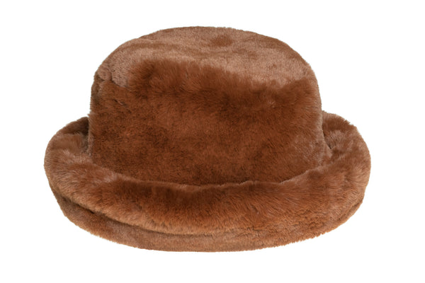 Fur Bucket Hat in Brandy - CLYDE
