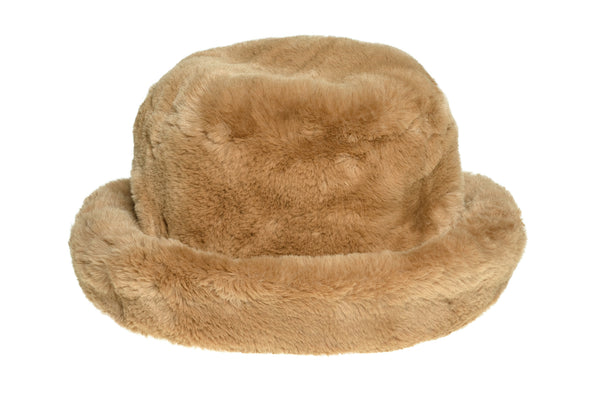 Fur Bucket Hat in Tan - CLYDE