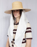 Wide Brim Flat Top Hat in Natural Straw w. Cream Neck Scarf - CLYDE