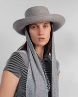 Gambler Hat in Heather Grey Wool w. Neck Scarf - CLYDE