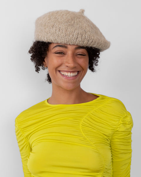 Mohair Beret in Oatmeal - CLYDE
