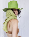 Cowboy Hat in Grass Panama Straw w. Linen Neck Scarf