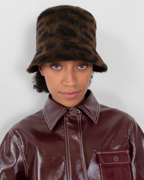 Batta Hat in Bengal Print Long Hair Angora - CLYDE
