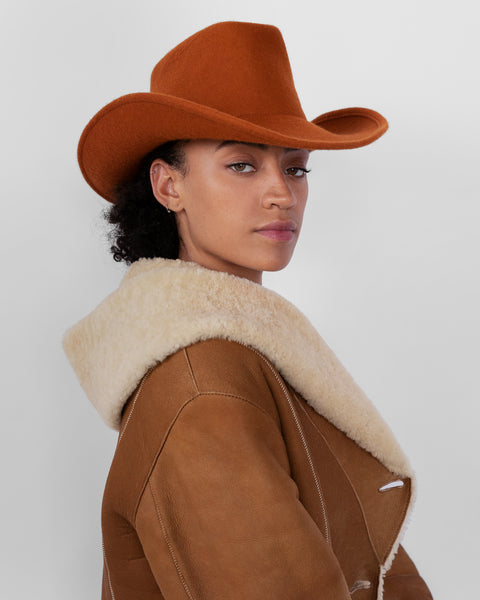 Cowboy Hat in Rust Wool - CLYDE