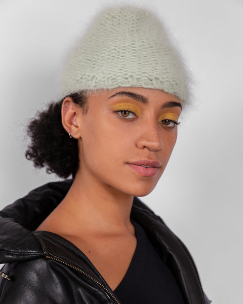 Mohair Hat in Soft Green - CLYDE