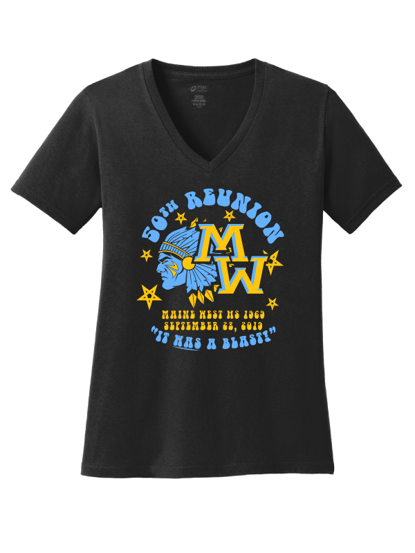 Maine West 50th Reunion Funky Ladies V Neck Tee