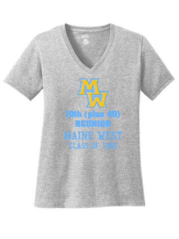 Maine West 50th Reunion Ladies V Neck Tee