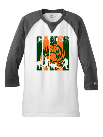Canes New Era Sueded Cotton Blend 3/4 Sleeve Baseball Tee