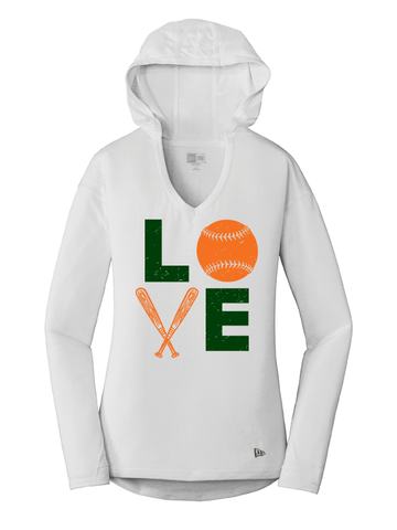 Canes New Era Ladies Triblend Performance Tee Hoodie
