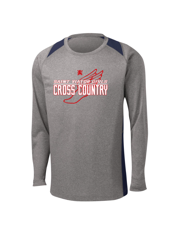 Saint Viator Girls Cross Country Long Sleeve Colorblock Tee