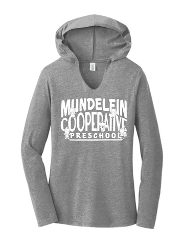 Mundelein Coop Preschool Ladies Tri-Blend Long Sleeve Hooded T-Shirt