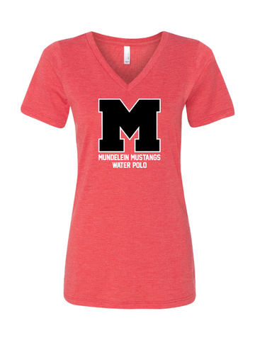 MHS Boys Water Polo Triblend V-Neck Tee (Womens)