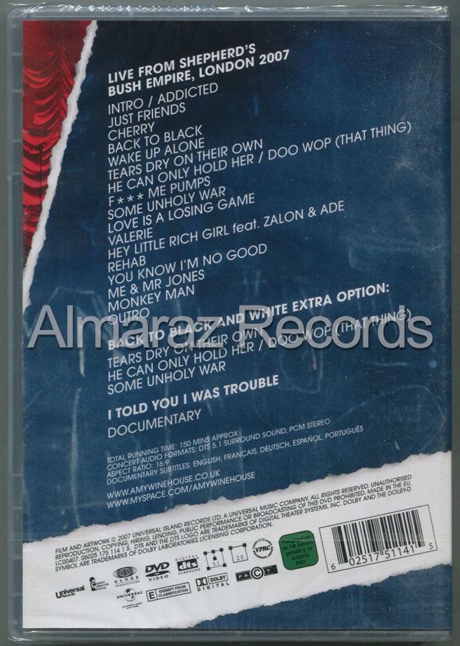 Amy Winehouse Live In London DVD - I Told You I Was Trouble