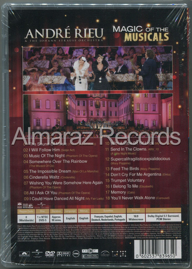 Andre Rieu Magic Of The Musicals DVD - Almaraz Records | Tienda de Discos y Películas  - 2