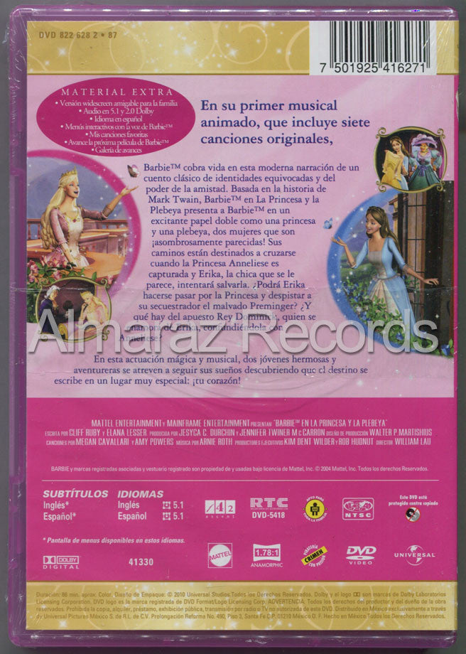Barbie La Princesa Y La Plebeya DVD - Barbie As The Princess And The Pauper - Almaraz Records | Tienda de Discos y Películas  - 2