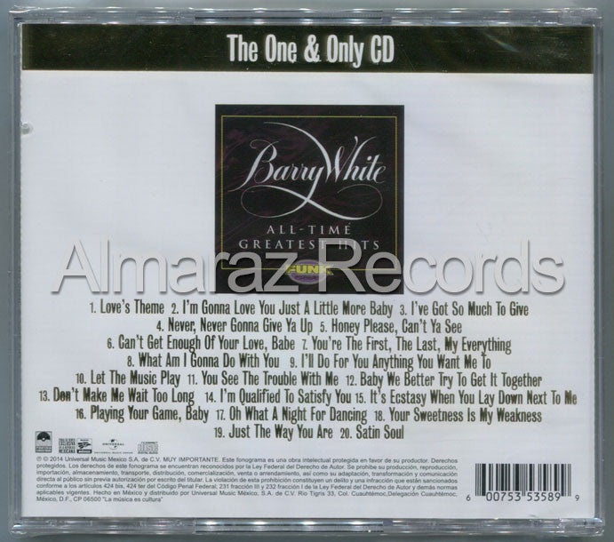 Barry White All-Time Greatest Hits CD - The One & Only CD - Almaraz Records | Tienda de Discos y Películas  - 2