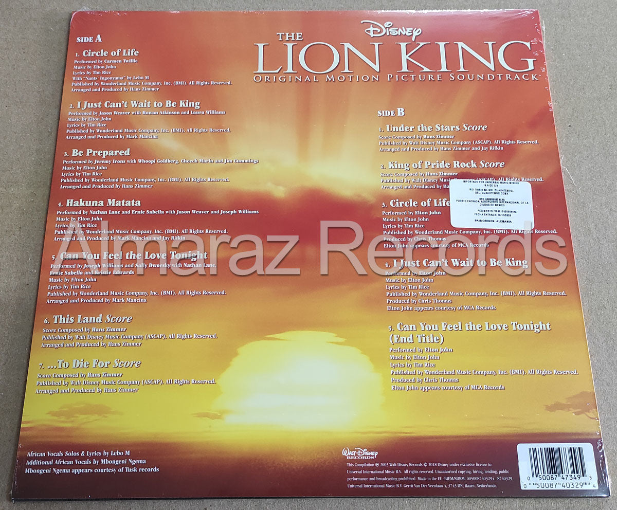 Disney The Lion King Soundtrack Limited Gold Vinyl LP