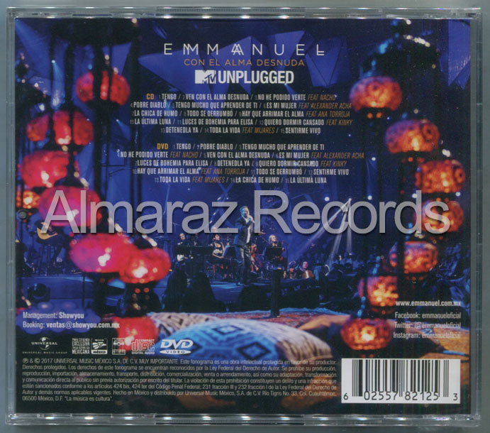Emmanuel MTV Unplugged Con El Alma Desnuda CD+DVD