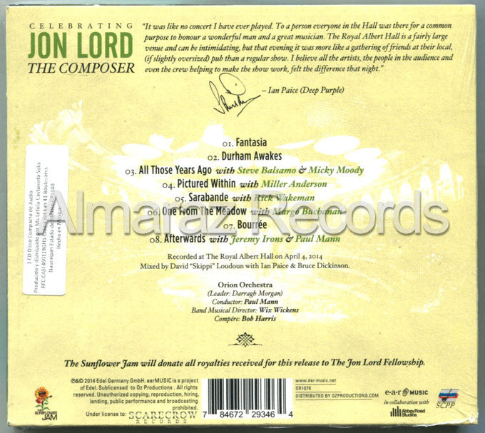 Deep Purple Celebrating Jon Lord The Composer Live At The Royal Albert Hall CD - Almaraz Records | Tienda de Discos y Películas  - 2