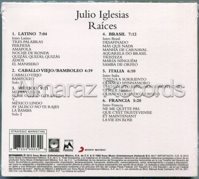 Julio Iglesias Raices CD