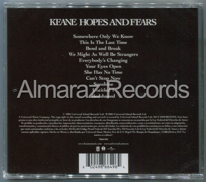 Keane Hopes And Fears CD - Almaraz Records | Tienda de Discos y Películas  - 2