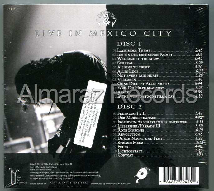 Lacrimosa Live In Mexico City Mexican Digipak Edition 2CD - Almaraz Records | Tienda de Discos y Películas  - 2