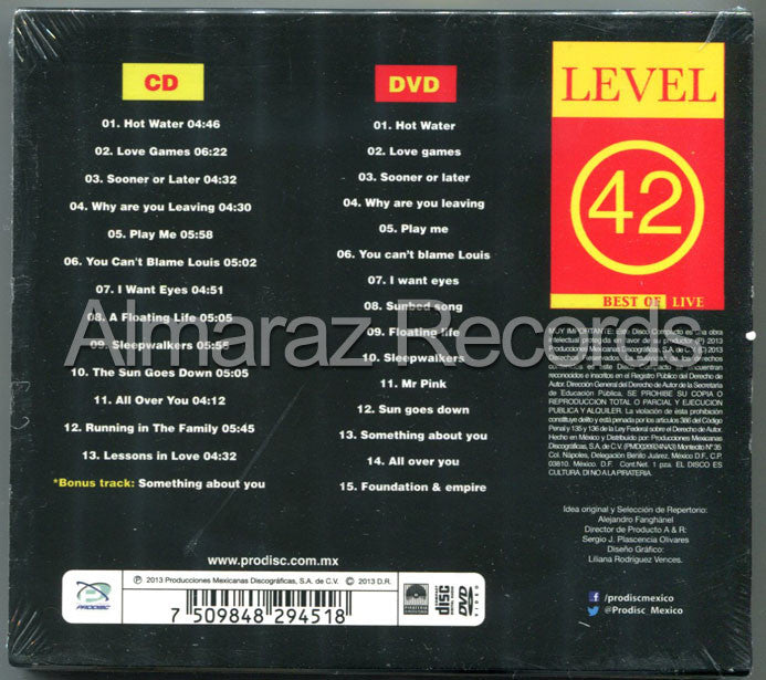 Level 42 Best Of Live CD+DVD - Almaraz Records | Tienda de Discos y Películas  - 2