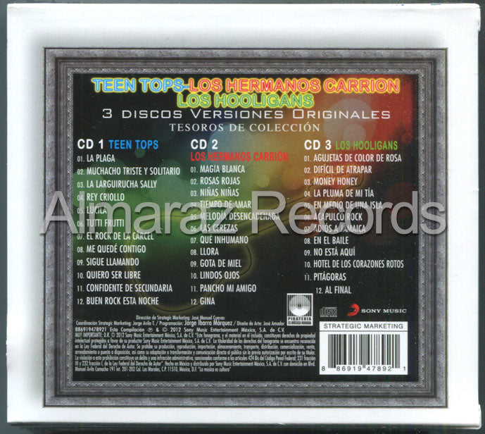 Los Teen Tops / Los Hermanos Carrion / Los Hooligans Tesoros De Coleccion 3CD