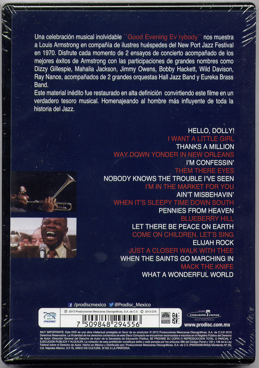 Louis Armstrong Good Evening Ever'body DVD - New Port Jazz Festival - Almaraz Records | Tienda de Discos y Películas  - 2