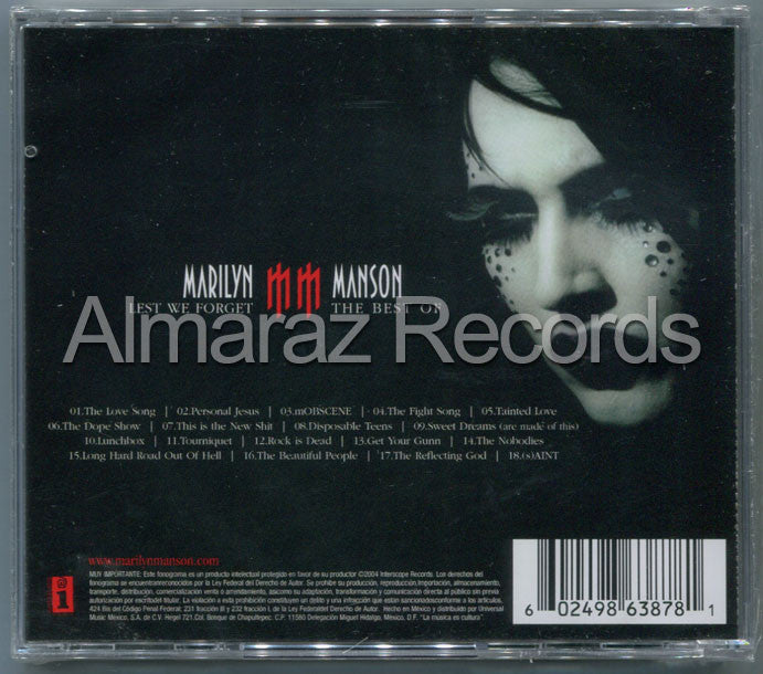 Marilyn Manson Lest We Forget The Best Of CD - Almaraz Records | Tienda de Discos y Películas  - 2