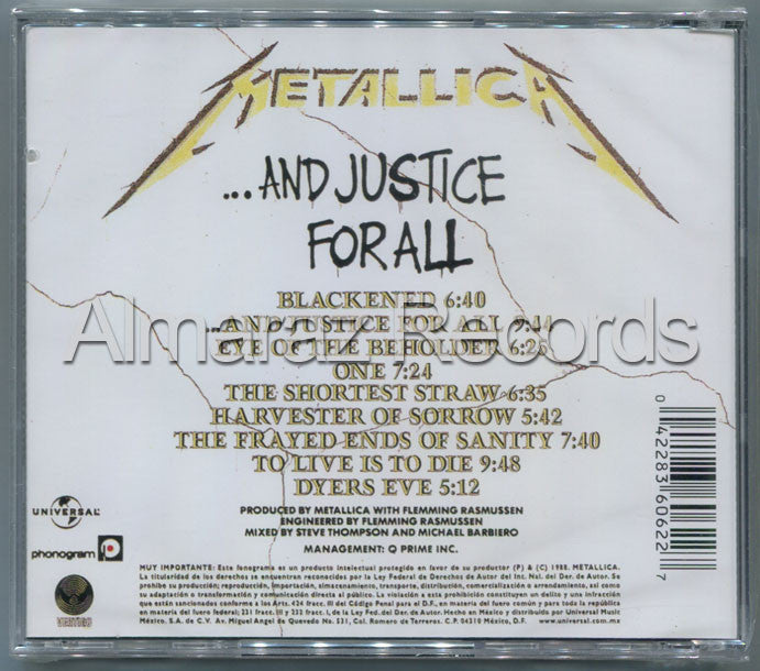 Metallica And Justice For All Edition CD - Almaraz Records | Tienda de Discos y Películas  - 2
