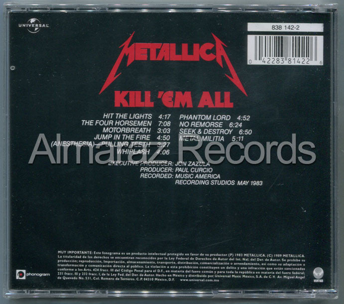 Metallica Kill'Em All CD - Almaraz Records | Tienda de Discos y Películas  - 2