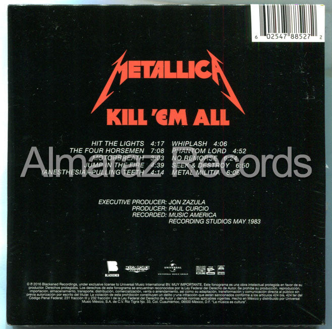 Metallica Kill 'Em All CD - Remastered 2016 - Almaraz Records | Tienda de Discos y Películas  - 2