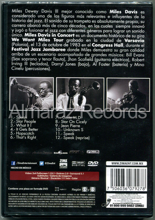 Miles Davis In Concert DVD - We Want Miles Tour Varsovia 1983 - Almaraz Records | Tienda de Discos y Películas  - 2