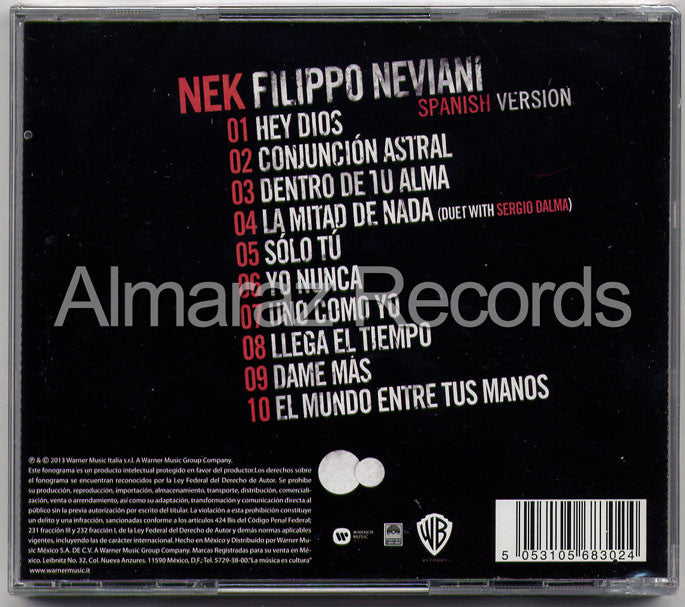 Nek Filippo Neviani Spanish Version CD - Almaraz Records | Tienda de Discos y Películas  - 2
