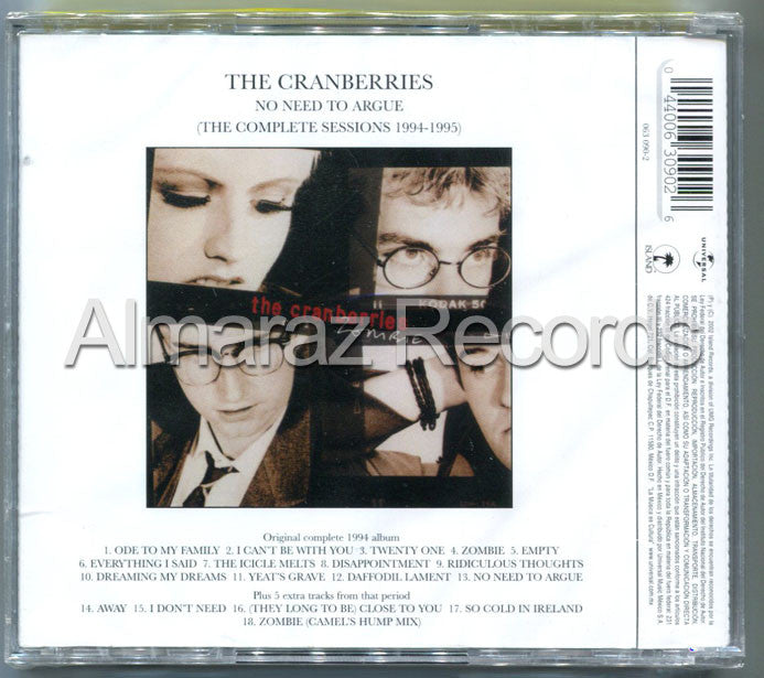 The Cranberries No Need To Argue (The Complete Sessions 1994-1995) CD - Almaraz Records | Tienda de Discos y Películas  - 2