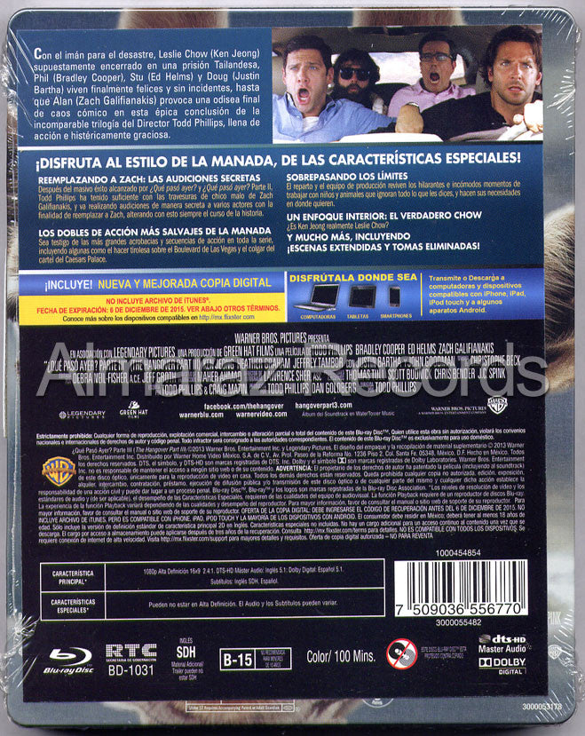 The Hangover Part III Steelbook Blu-Ray+DVD - Almaraz Records | Tienda de Discos y Películas  - 2