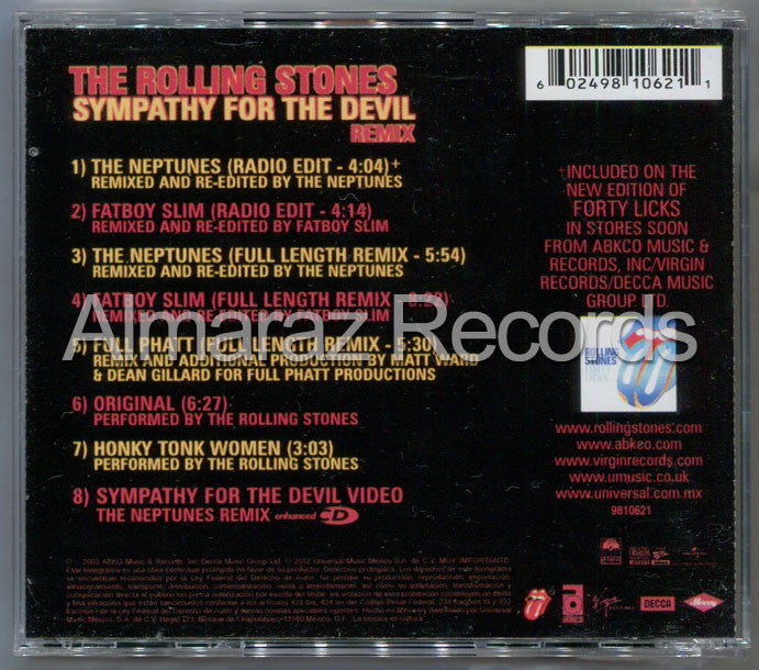 The Rolling Stones Sympathy For The Devil Remix CD (Usado) - Almaraz Records | Tienda de Discos y Películas  - 2
