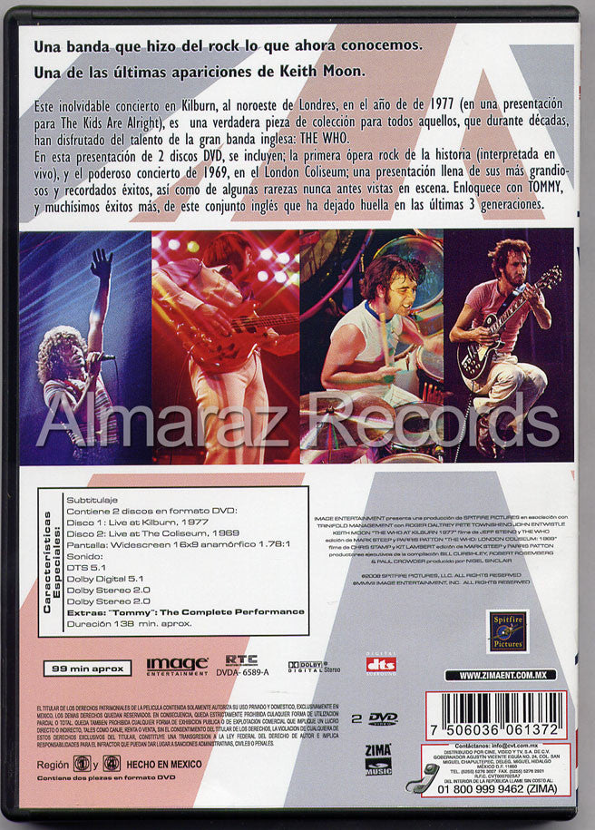 The Who At Kilburn 1977 2DVD - Kilburn 1977 Coliseum 1969 - Almaraz Records | Tienda de Discos y Películas  - 2