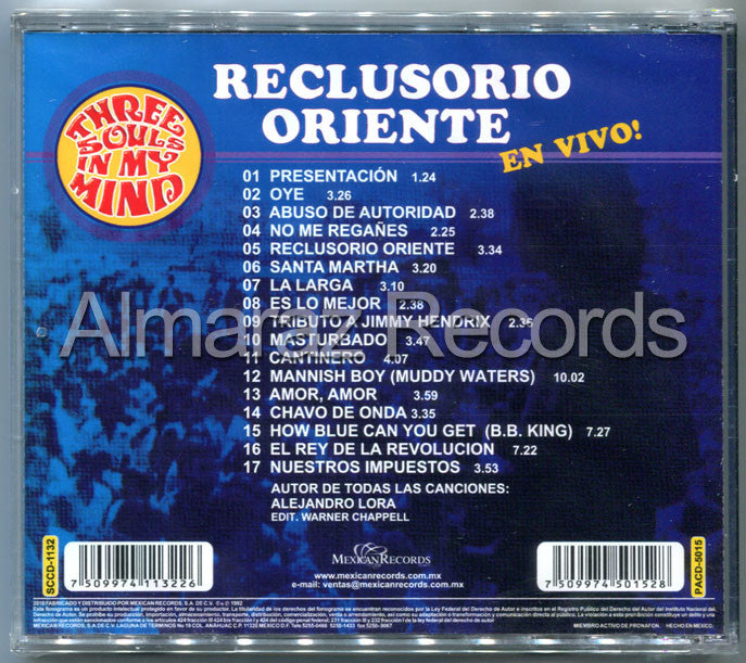 Three Souls In My Mind Reclusorio Oriente En Vivo CD - Almaraz Records | Tienda de Discos y Películas  - 2