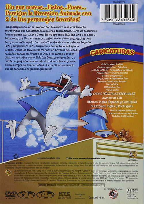 Tom Y Jerry Las Persecuciones Vol 4 DVD - Tom & Jerry Greatest Chases - Almaraz Records | Tienda de Discos y Películas  - 2