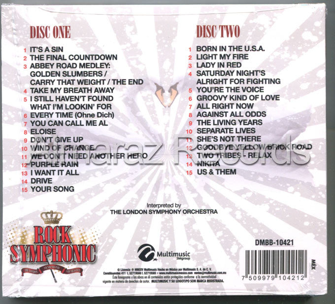 Rock Symphonic 2CD It's A Sin Born In The USA Nikita Lady In Red - Almaraz Records | Tienda de Discos y Películas  - 2