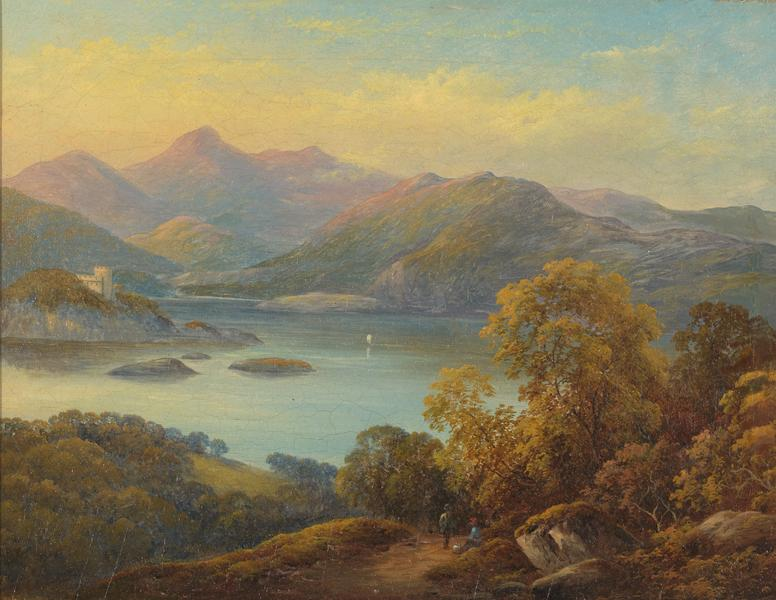 19th C,  Between Neo-Classicism and Romanticism, Landscape, Signed AC-Castelli Alessandro (1809-1902), Mountanious Landscape, Oil on Canvas, 64 x 55 cm, Framed and dated 1875.