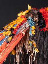 "Charger l'image dans la galerie, Rikbaktsa People, Brasil, Colourful Neck covering Headdress ""Myhara"", Feathers and Human Hair, 65 cm on customized stand, Provenance Belgian private collection."