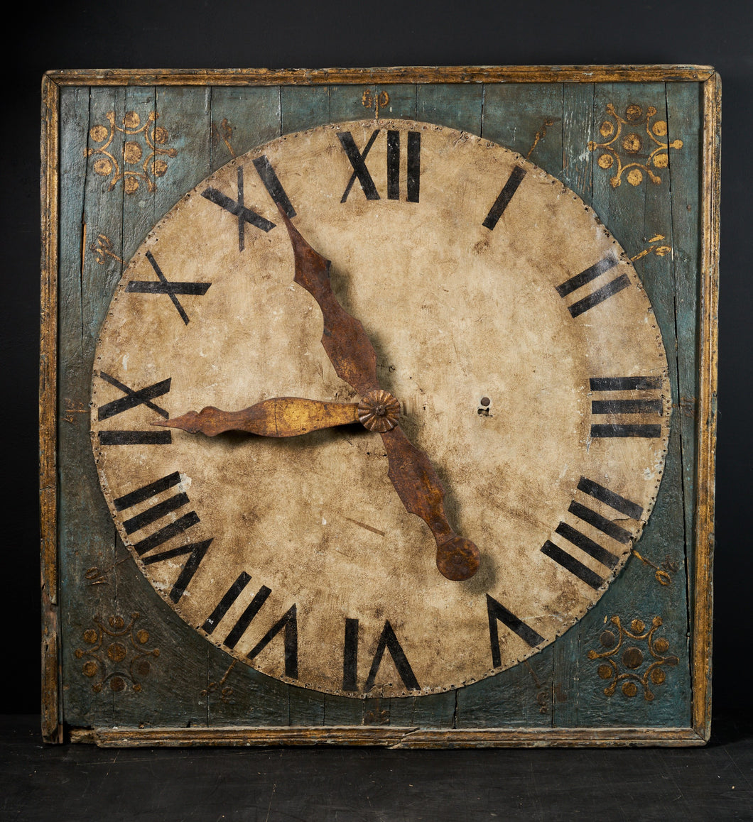 Monumental early 19th C. Clock on a Polychromed pannel with hands in golden metal fixed on a tin sheet.