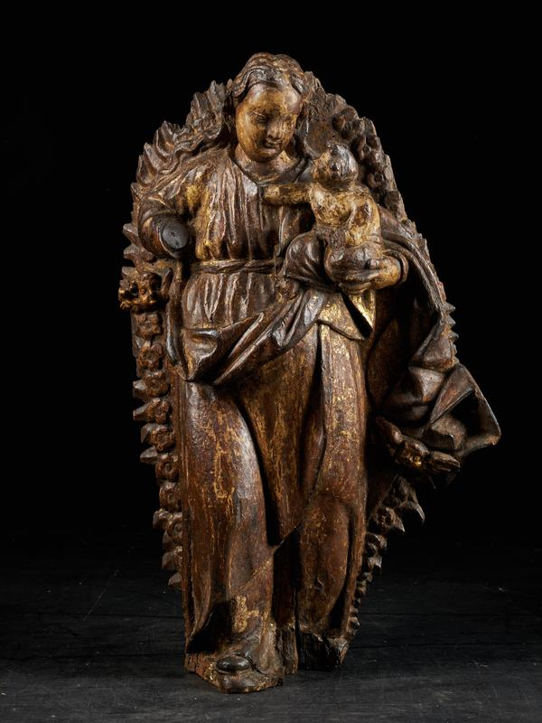 18th C, Religious, Probably Spanish School, Gilded Sculpture of the Virgin and Child surrounded by a Halo of Rays and Roses, Gilded Wood, 63 x 41 x 12 cm
