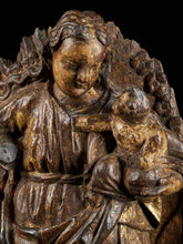 Load image into Gallery viewer, 18th C, Religious, Probably Spanish School, Gilded Sculpture of the Virgin and Child surrounded by a Halo of Rays and Roses, Gilded Wood, 63 x 41 x 12 cm