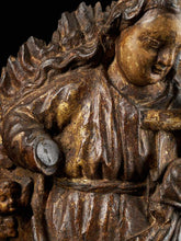 Afbeelding in Gallery-weergave laden, 18th C, Religious, Probably Spanish School, Gilded Sculpture of the Virgin and Child surrounded by a Halo of Rays and Roses, Gilded Wood, 63 x 41 x 12 cm