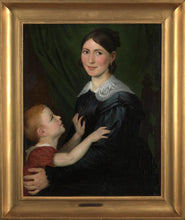 Lade das Bild in den Galerie-Viewer, Mid-19th C, Romantic,Portrait, Antoine Wiertz (Dinant, 1806- Ixelles,1865), Portrait of a Mother and her Son, Oil on Canvas, 97.5 x 82 x 8 cm, Framed.